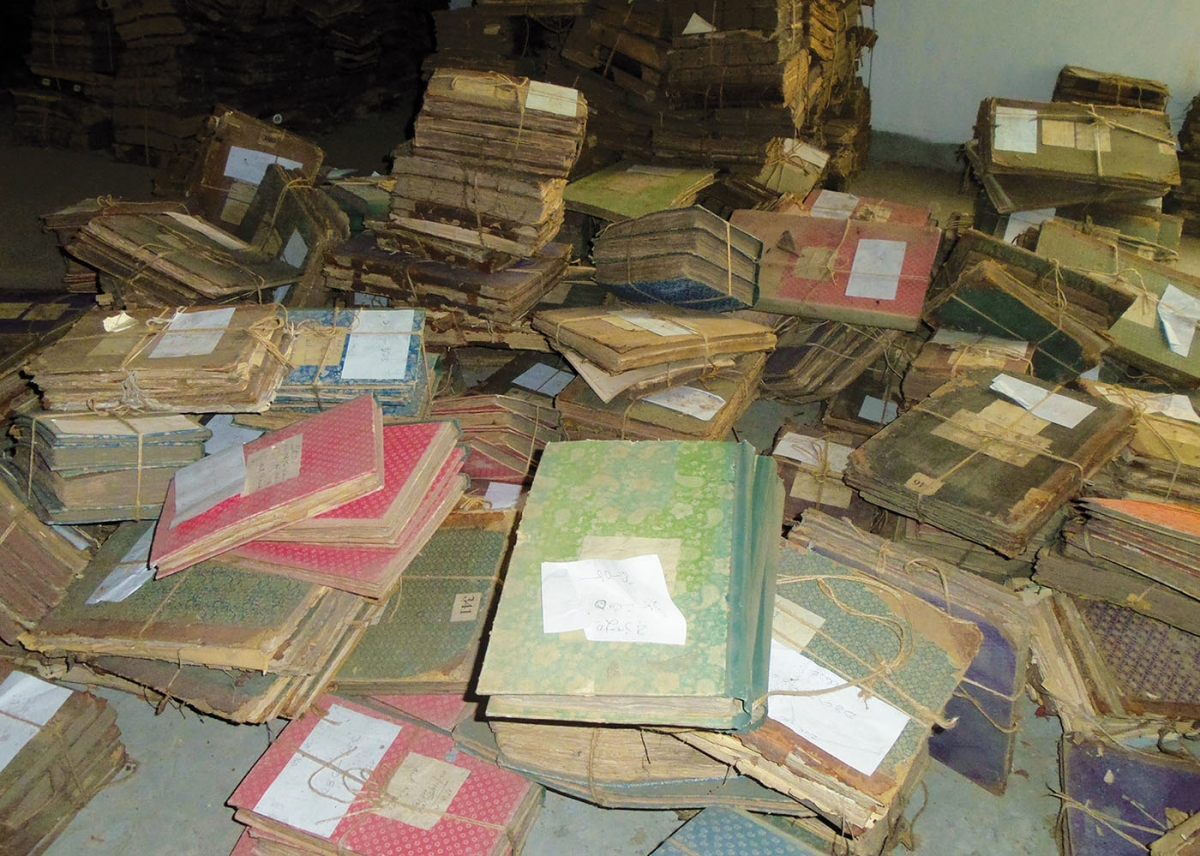 Records under review in the National Archives of Bangladesh. Photo by the author.