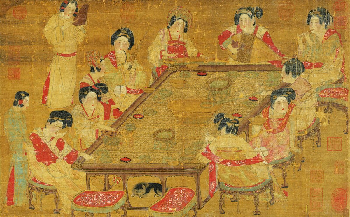 Tang Dynasty. Anonymous: A Palace Concert (Gongyuetu 宮樂圖) Ten court ladies in late Tang Dynasty were sitting around a table and drinking tea. Courtesy: National Palace Museum (Taiwan).