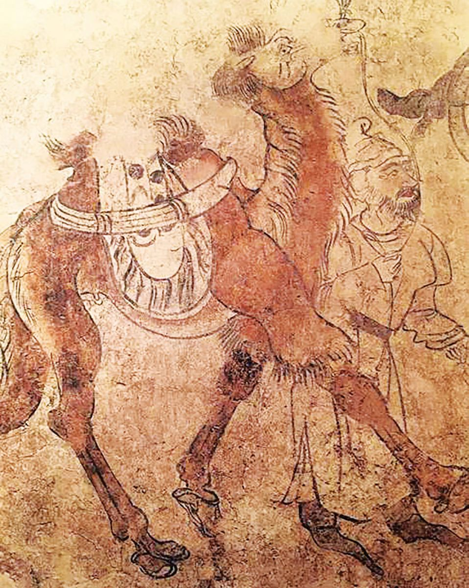 Camel and foreign groom, mural painting from Tang shi's tomb (east wall of tomb passage, 2m high), 706, Luoyang, Henan Province China. Photo courtesy of the Luoyang Cultural Relics Bureau.