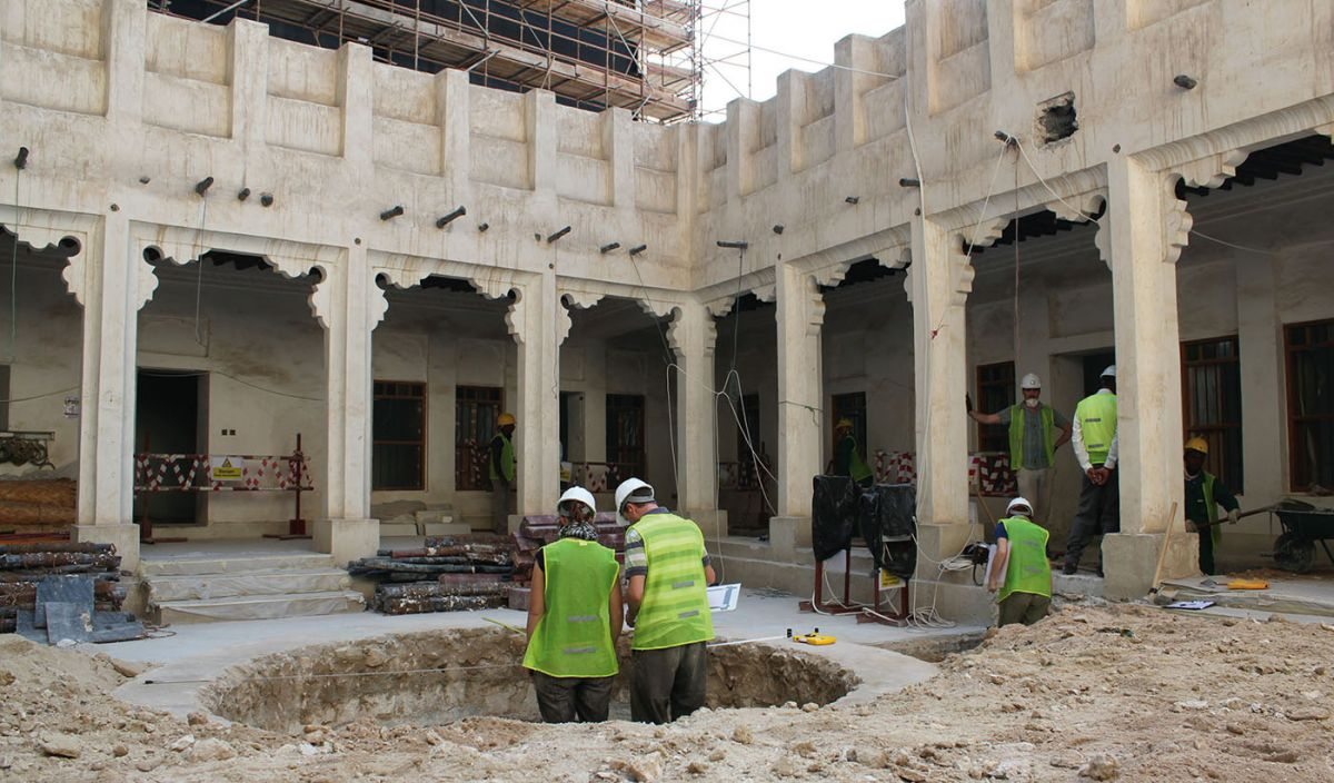 Excavation and restoration work of a historic building in Doha, Qatar. Photo by author.