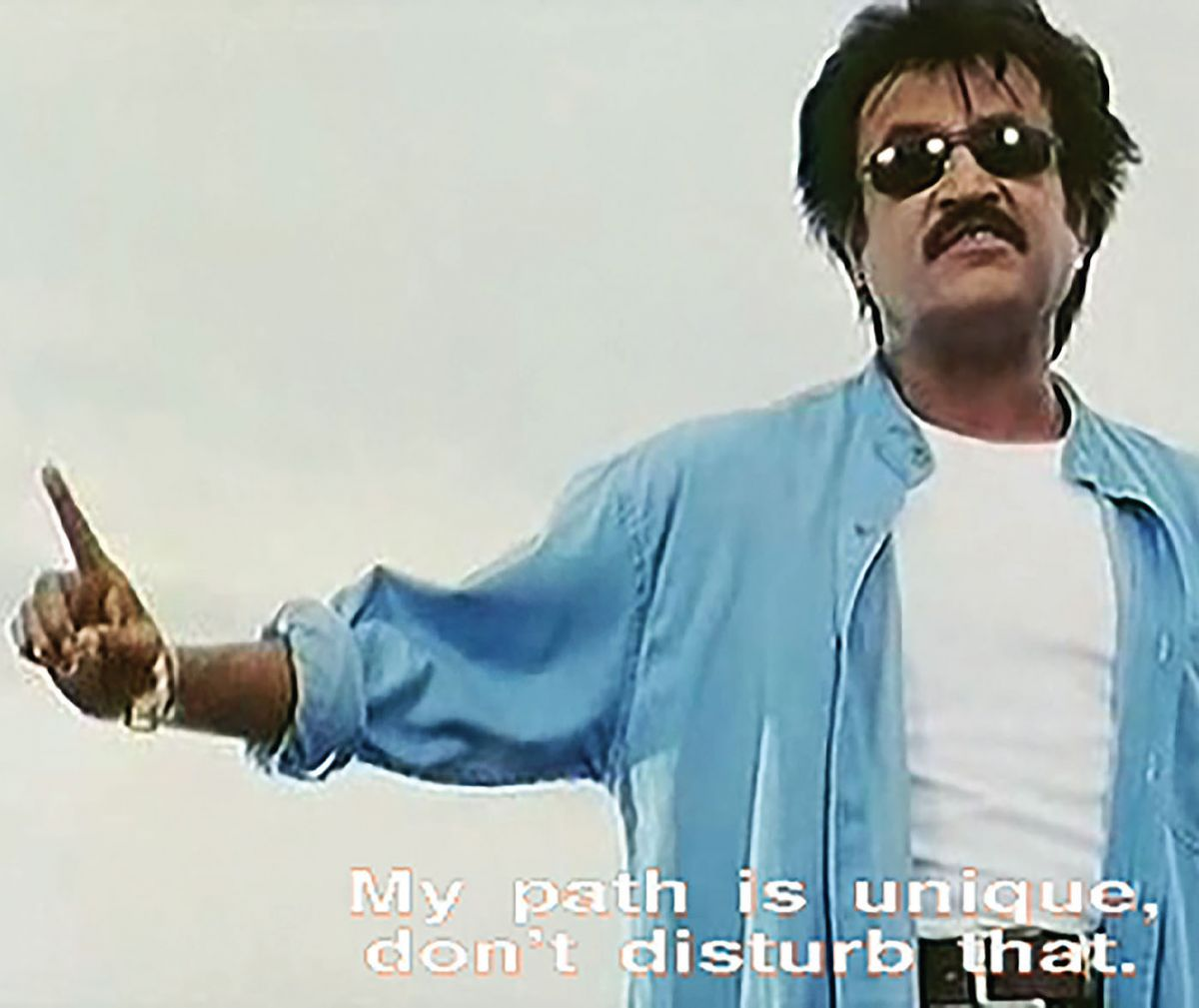 Screenshot of Rajinikanth in the movie Padayappa.
