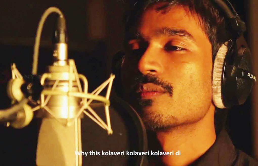 Screenshot of Dhanush singing 'Why This Kolaveri Di'.