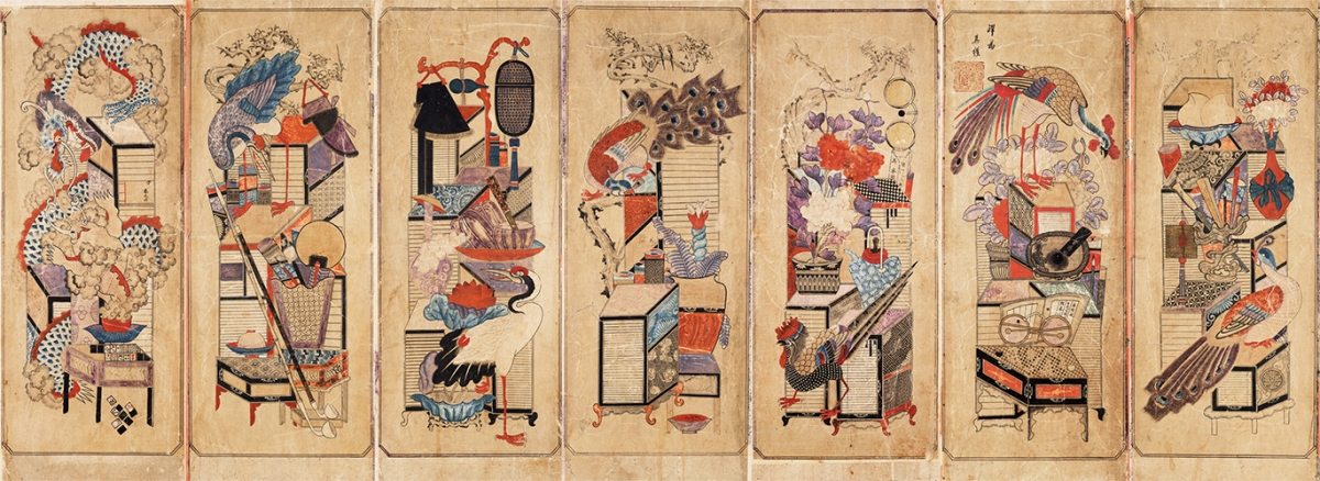 Fig. 2. Chaekgeori, the Scholar's Accoutrements. Late nineteenth-century Korea. Seven-panel screen, ink and color on paper. 42″ (H) x 162″ (W). The Chosun Minhwa Museum