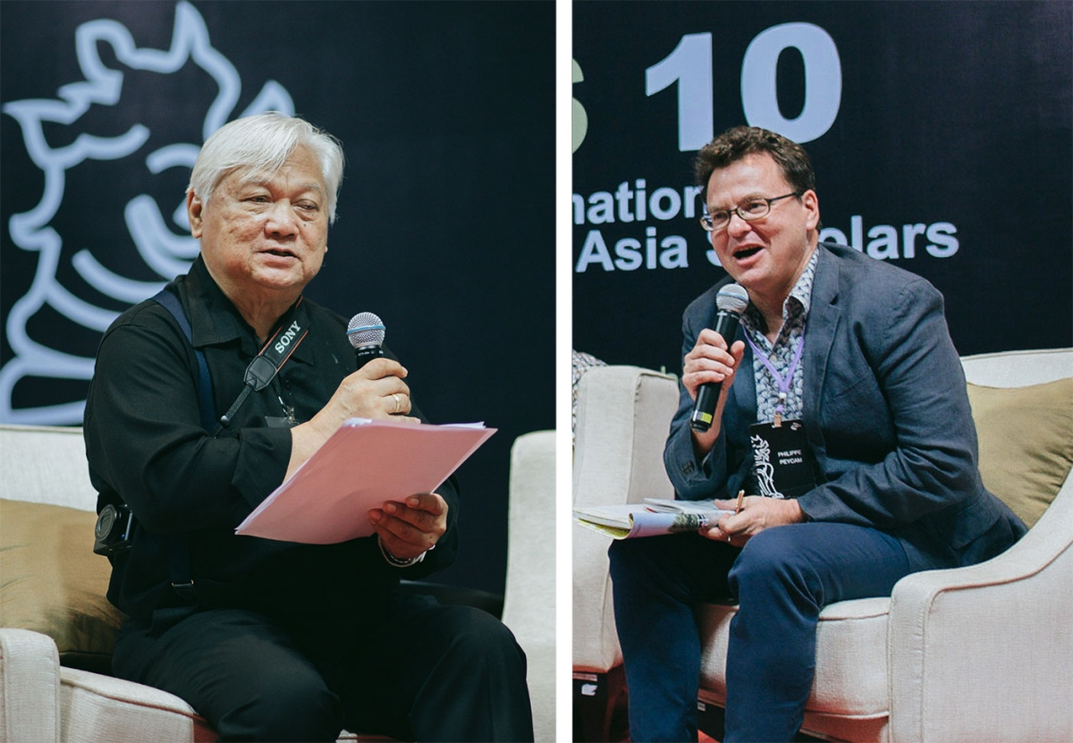 Dr Chayan Vaddhanaphuti (left) and Dr Philippe Peycam (right) speaking at the ICAS Keynote Roundtable 'Upholding Democratic Values in Southeast Asia: Intellectual Freedom and Public Engagement'.